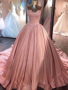 Gorgeous Ball Gown Sweetheart Open Back Satin Blush Lace Long Prom Dresses with Beading, Quinceanera Dresses