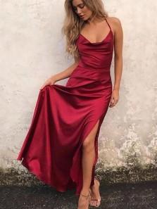 Charming Sheath Sweetheart Cross Back Split Wine Long Prom Dresses, Formal Evening Dresses