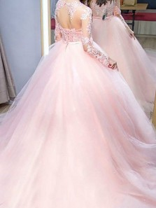Elegant Ball Gown Round Neck Lace Pink Long Sleeves Long Prom Dresses with Beading, Quinceanera Dresses PD0929004