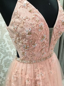 Charming Ball Gown V Neck Spaghetti Straps Open Back Blush Lace Long Prom Dresses with Beading, Formal Evening Dresses