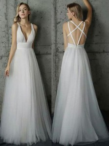 Fairy A Line V Neck Cross Back Ivory Tulle Long Wedding Dresses