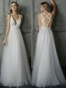 Fairy A Line V Neck Cross Back Ivory Tulle Long Wedding Dresses