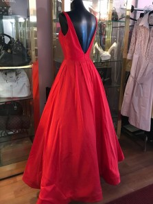1950s Vintage Ball Gown Open Back Satin Red Long Prom Dresses, Elegant Evening Party Dresses PD0928008