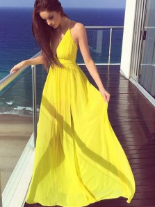 Charming A Line V Neck Cross Back Chiffon Ruffled Yellow Long Prom Dresses, Formal Evening Dresses