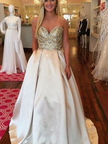 Gorgeous Ball Gown Sweetheart Open Back Champagne Long Prom Dresses with Beading, Formal Evening Party Dresses