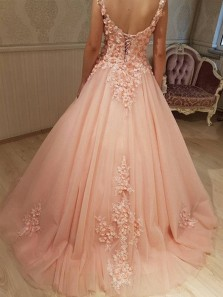 Charming Ball Gown V Neck Open Back Blush Lace Long Prom Dresses with Beading, Formal Evening Dresses