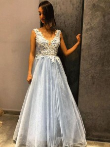 Charming A Line V Neck Open Back Light Blue Lace Long Prom Dresses, Formal Evening Dresses