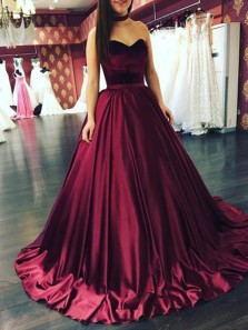 Vintage Ball Gown Sweetheart Open Back Burgundy Satin Long Prom Dresses, Quinceanera Dresses