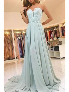 Charming A Line Sweetheart Open Back Chiffon Mint Lace Long Prom Dresses with Train, Formal Evening Dresses