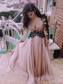 A Line V Neck Open Back Long Sleeves Blush & Black Lace Long Prom Dresses, Formal Evening Party Dresses