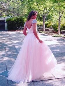 Elegant A Line V Neck Open Back Cap Sleeves Pink Long Prom Dresses with Beading, Princess Dresses