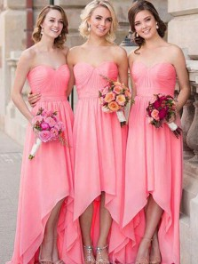 Elegant A Line Sweetheart Open Back Coral Chiffon High Low Long Bridesmaid Dresses Under 100