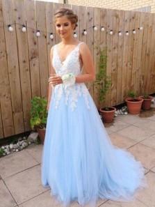Gorgeous A Line V Neck Open Back Blue & White Lace Long Prom Dresses, Quinceanera Dresses