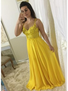 Charming A Line Sweetheart Spaghetti Straps Yellow Lace Long Prom Dresses, Evening Party Dresses