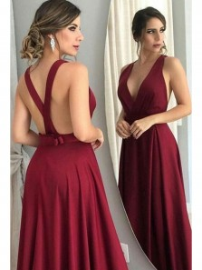 Charming A Line V Neck Open Back Burgundy Satin Long Prom Dresses with Bow, Formal Evening Party Dresses