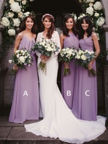 Charming Sweetheart Spaghetti Straps Purple Long Bridesmaid Dresses Under 100