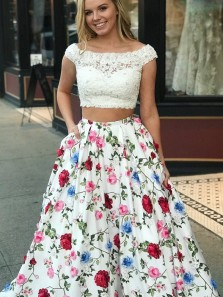 Two Pieces Prom Dress, A Line Scoop Floral Lace Long Prom Dress, Open Back Cap Sleeve Evening Dress