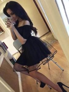 Simple A Line Off the Shoulder Short Sleeves Black Short Homecoming Dresses, Cute Black Short Prom Dresses