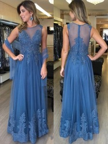 A Line Round Neck Blue Tulle and Lace Long Prom Dresses, Elegant Evening Party Dresses