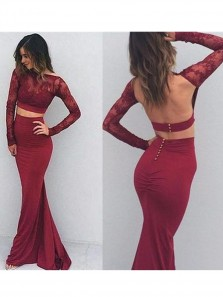 Charming Mermaid Two Pieces Scoop Neck Burgundy Lace Long Sleeves Prom Dresses, Elegant Evening Dresses PM0012