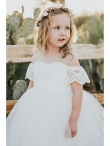 Cute A Line White Flower Tulle Flower Girl Dress With Applique