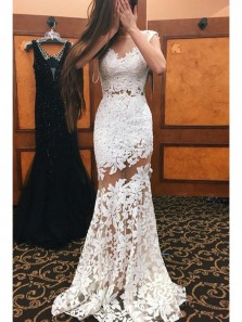 Sexy V Neck Sheer Trumpet White Prom Dress,Appliques Lace Mermaid Evening Dress