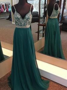 Dark Green V Neck Chiffon Long Prom Dress, Spaghetti Strarps A Line Long Prom dress with Beading