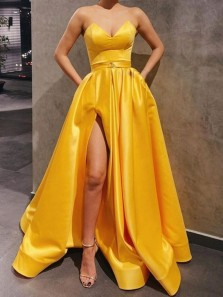 Gorgeous Ball Gown V Neck Yellow Satin Prom Dresses with Pockets, Split Evening Dresses