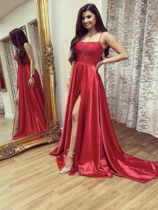 Cute A Line Scoop Neck Spaghetti Straps Slit Red Prom Dresses, Discount Prom Dresses