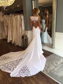 Popular Elegant Fashion Sweetheart Sleeveless Open Back White Mermaid Wedding Dress With Lace WD00121