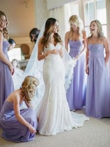 Elegant A Line Sweetheart Open Back Chiffon Lavender Long Bridesmaid Dresses Under 100