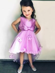 Cute A Line Tutu Purple Satin Flower Girl Dresses with Bow