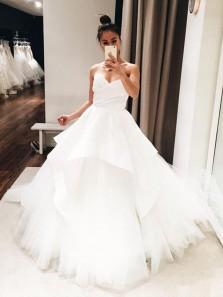 Gorgeous Ball Gown V Neck Open Back White Long Wedding Dresses