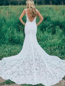 Gorgeous Mermaid V Neck Open Back White Lace Long Wedding Dresses, Beach Wedding Dresses
