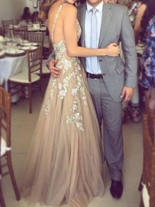 Charming A Line V Neck Open Back Brown Lace Long Prom Dresses, Formal Evening Party Dresses