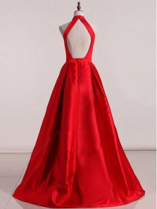 Vintage Ball Gown Halter Open Back Red Satin Long Prom Dresses, Elegant Evening Dresses