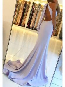 Charming Mermaid Halter Open Back Light Blue Split Long Prom Dresses, Formal Evening Dresses