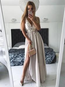 Charming V Neck Open Back Chiffon Split Light Grey Lace Long Prom Dresses, Beautiful Evening Party Dresses