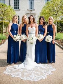 Charming Sheath Halter Navy Blue Chiffon Long Bridesmaid Dresses Under 100