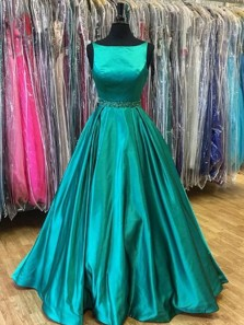 Charming Ball Gown Scoop Satin Cyan Long Prom Dresses with Pockets, Formal Evening Dresses with Beading