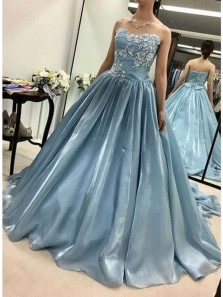 Gorgeous Ball Gown Sweetheart Organza Lace Long Prom Dresses, Quinceanera Dresses