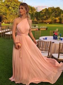 Charming A Line One Shoulder Chiffon Blush Long Bridesmaid Dresses