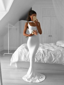 Charming Mermaid Round Neck Open Back White Long Prom Dresses, Simple Evening Party Dresses