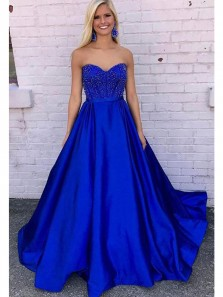 Charming Ball Gown Sweetheart Open Back Royal Blue Satin Long Prom Dresses with Beading, Formal Evening Dresses