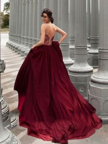 Charming A Line Sweetheart Open Back Burgundy Lace Long Prom Dresses, Elegant Evening Dresses