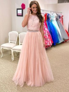 Charming A Line Two Piece Open Back Pink Lace Long Prom Dresses, Formal Evening Party Dresses