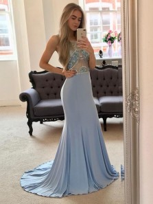 Charming Mermaid Round Neck Light Blue Long Prom Dresses with Beading, Formal Evening Dresses