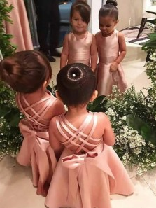 Cute A Line Round Neck Blush Satin Long Flower Girl Dresses with Bow Under 100