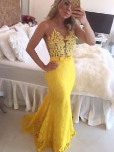 Charming Mermaid V Neck Open Back Yellow Lace Long Prom Dresses, Elegant Evening Dresses