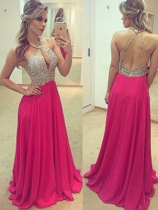 Charming A Line Halter Rose Red Open Back Long Prom Dresses with Beading, Sparkly Evening Dresses